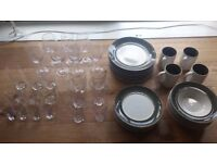 Dinnerware Dishes set with Glassware - Complete set for 4, plus extra