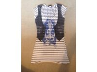 Striped top with anchor and waist coat print Jane Norman size 6-8