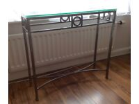 Console Table. Art Deco Style. Cut glass top, brushed steel base.