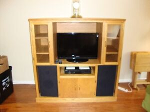 For Sale:  Handcrafted Solid Oak Entertainment Unit