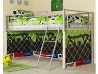 Mid Sleeper Bed Tent Bunk Bed Boys Kids Football Cabin