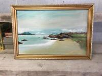 Original & Signed Oil On Board Painting Of Coll Beach, Lewis - Framed