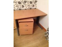 Office Desk in beech 120 x 80cm with mobile pedestal 2 drawers and Chair.