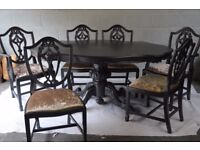 Shabby Chic Solid Wood Ornate Dining Table with 6 Chairs Metallic Black