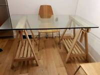Glass dining table/desk and 2 chairs