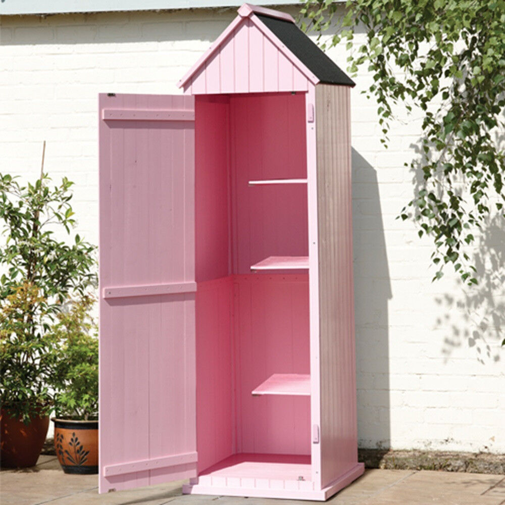 Brighten Garden Shed Pastel Pink 3 Half Shelves Wooden Waterproof Paint Storage Balcony Court Yard
