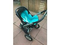 Quinny pram 3 in one full set with car seat and maxi cosi base.