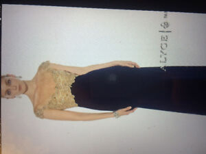 Beautiful prom dress size 2 by Alyce Paris- gold beaded and navy