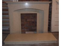 Solid marble surround and hearth.
