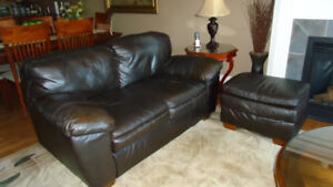 Leather Sofa, Loveseat, and Ottoman in great shape. $650.00