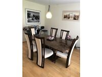 Beautiful Large Marble Burr Dining Table With 6 Chairs Plus Console