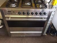 Stainless steel smig 90cm five burners dual fuel five burners cooker grill & fan oven with guar