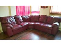 Red leather corner couch