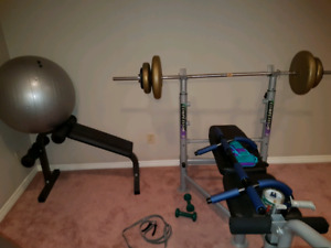 CRAZY DEAL MUST GO TODAY PICKUP ONLY WEIGHT BENCH EXERCISE BALL