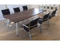 Board Room/Meeting Table & 6 Leather Chairs - Excellent Condition