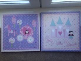 2 pretty princess canvases