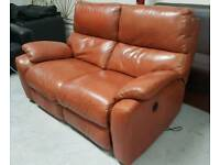 Good quality tan leather electric recliner sofa in good condition can deliver 07808222995