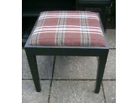 Painted stool with tartan upholstery