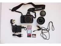 Sony DSLR A200, 18-70mm f3-5.6, Battery&Charger, Strap, USB cable, Hot shoe adapter, Ringflash, CFs