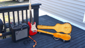 Guitar and case and amp