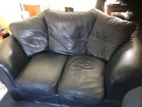 Blue Leather 2 and 3 seater sofa