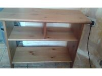 Small pine table with shelves
