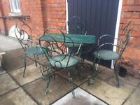 Green French furniture set, table and 4 chairs