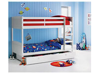 HOME Detachable Single Bunk Bed Frame with Storage - White