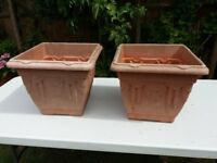 2 x square planters - just need a wash up in soapy water to look great