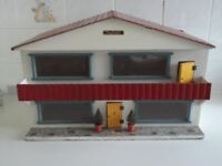 Swiss chalet dolls house with good collection of furniture