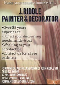 Over 35 years experience, free estimates given.