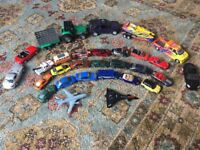 Collection of Toy Cars, Tractors, Planes & Boat