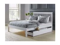 Aspley Small Double Bed Frame with separate underbed drawer- White