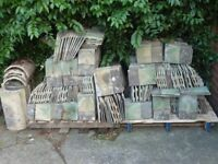 Marley green RECLAIMED roof tiles - job lot - approx 800 single, 50 1.5's, 15 ridge, 50 shorts
