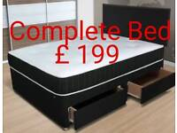Double divan bed with drawers in base , mattress & headboard £ 199 double bed