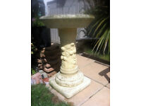 BIRD BATH WEATHERED STONE - HEAVY COMES IN 2 PARTS FOR MOVING