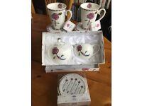 Beautiful boxed mugs sugar bowl,jug and coaster sets. Leonardo collection Rennie Mackintosh style.