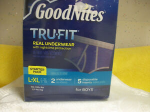 NEW BOYS GOODNITES TRUE FIT UNDERWEAR AND INSERTS 60 - 100+ LBS