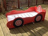 Bed, children's racing car bed toddler size up to 6 year old.