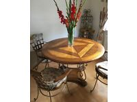 Bid received on eBay - pls see if interested. Unusual dining table, 4 chairs and matching pot stand