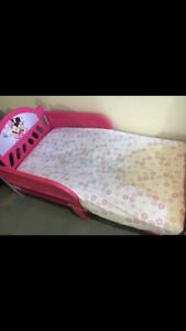Minnie Mouse toddler bed. Mattress and bedding included