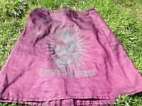 Miniskirt, purple, cyber/clubbing design.