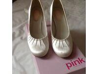 Ivory satin bridal shoes size 6