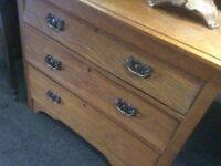 Golden oak chest of drawers