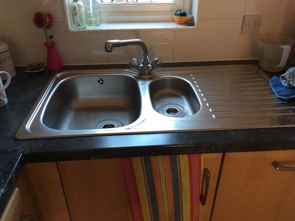 kitchen sink - stainless steel 1.5 bowl with draining board | in
