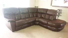 Brown leather corner settee, with recliner seat and 2 reclining chairs