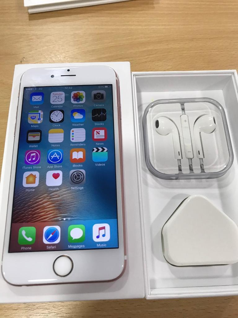 IPhone 6s rose gold 16gb 3 network good conditionin Chorlton, ManchesterGumtree - IPHONE 6S ROSE GOLD 16GB ON 3 NETWORK THIS IS BOXED IN MINT CONDITION, WITH PLUG AND WIRE AND HEADPHONES100% GUARANTEED PHONE, GENUINE SELLER BEEN SELLING PHONES FOR MANY YEARS CASH ON COLLECTION ONLY FROM CHORLTONNO FAKE NOTE SCAMMERS !!!! NO TIME...