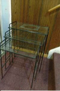 nesting tables wrought iron glass tops