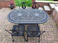 Beautiful Aluminium Garden set table and 4 chairs
