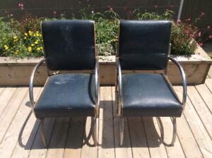RARE Mid Century Vintage Circular Tubular Chrome & Vinyl Chairs